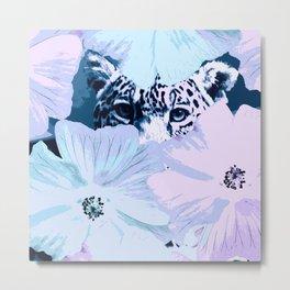 Behind the scenes - big cat hiding behind the flowers - lovely colors Metal Print