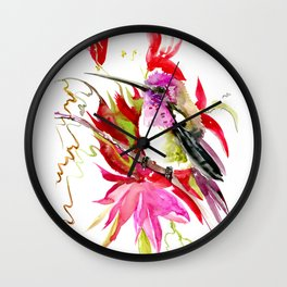 Little Hummingbird and Tropical Flowers Wall Clock