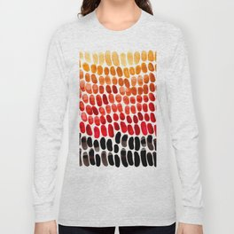 Colorful Primitive Pattern Watercolor Scales Abstract Desert Orange Yellow Ochre Long Sleeve T-shirt