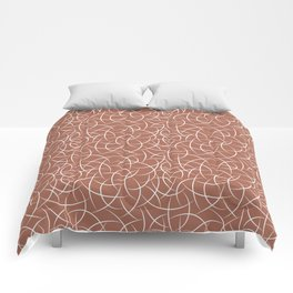 Abstract Crescent Shape Moon Pattern Pairs With Sherwin Williams Color of The Year 2019 Cavern Clay Comforters