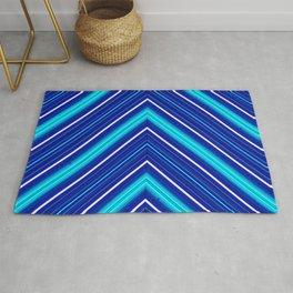 Morn Diagonal Chevron Sripes Shades of Blue Rug