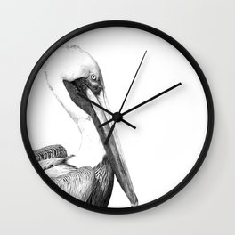 Black and White Pelican Wall Clock
