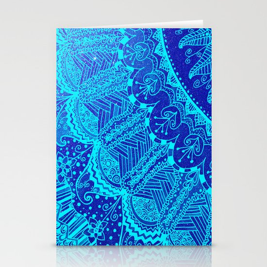 Blue SPARKLE Doodle Stationery Cards