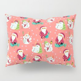 Pink Winter Forest with Cute Snowmen and Santas Pillow Sham