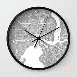 Jacksonville map grey Wall Clock