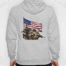 Presidential Soldiers: Ronald Reagan & Donald Trump USA Flag Hoody