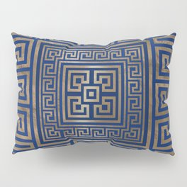 Greek Key Ornament - Greek Meander -gold on blue Pillow Sham
