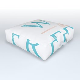 Wild and Free Turquoise Rose Gold Outdoor Floor Cushion