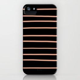 Pratt and Lambert Earthen Trail 4-26 Hand Drawn Horizontal Lines on Black iPhone Case