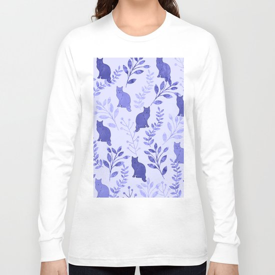 Watercolor Floral and Cat VII Long Sleeve T-shirt