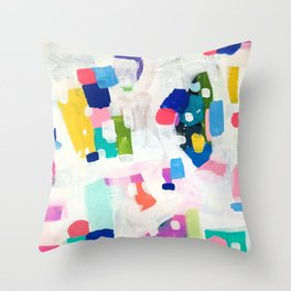 'Sunshine In The City 2' Fun colorful Abstract Acrylic Painting Shapes Pattern Modern Fun Pastel Spots by Ejaaz Haniff Throw Pillow