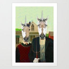 American Gothic Unicorn Art Print