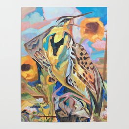 Meadowlark With Sunflowers Poster