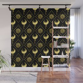 Gold Phoenix and lotus symbol pattern on black Wall Mural
