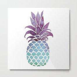 Pineapple watercolor in psychedelic hues Metal Print