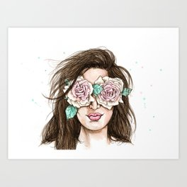 white roses in their eyes (female version) Art Print