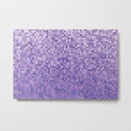 Pixels Gradient Pattern in Purple Metal Print
