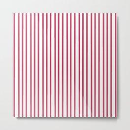 Modern  minimalist red white geometrical trendy stripes Metal Print