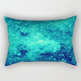 Teal Turquoise GalaXy. Sparkle Stars Rectangular Pillow