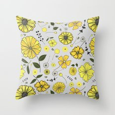 Yellow and grey sunflower patter Throw Pillow