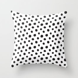 Minimal - black polka dots on white - Mix & Match with Simplicty of life Throw Pillow
