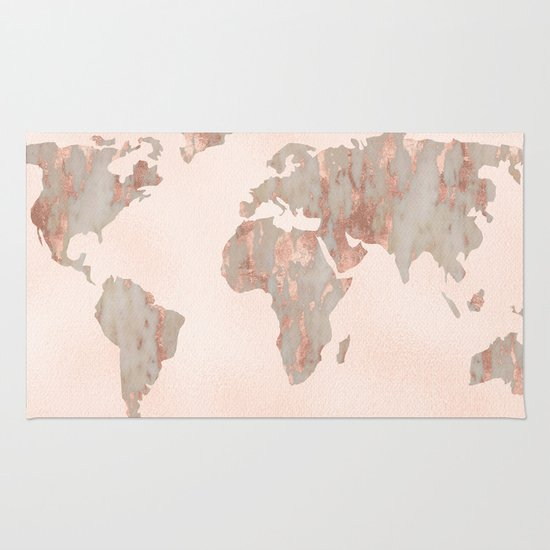 Rosegold Marble Map Of The World Rug By Mapmaker Society6