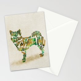 Shiba Inu Dog Typography Art / Colorful Watercolor Painting - Portrait Stationery Cards