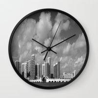 miami Wall Clocks featuring Miami by Raymond Earley