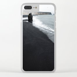 beach of vik in iceland Clear iPhone Case