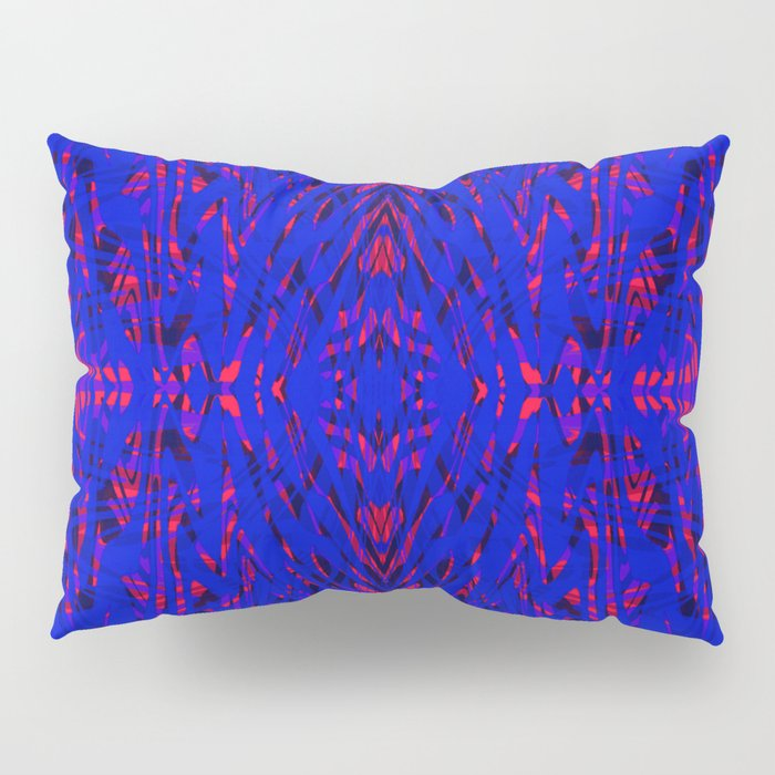 blue on red symmetry Pillow Sham