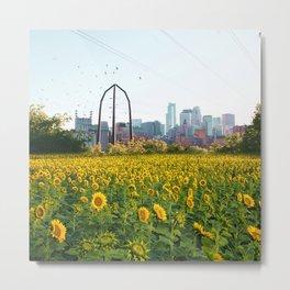 Minneapolis Minnesota Skyline and Sunflowers-Mpls Metal Print