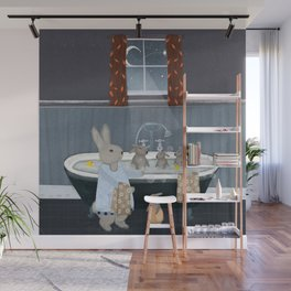 bunny bath time Wall Mural