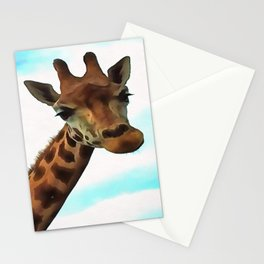 Hello up there! Fun Giraffe With Nerdy Expression Stationery Cards