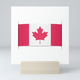 Flag of Canada. The slit in the paper with shadows. Mini Art Print