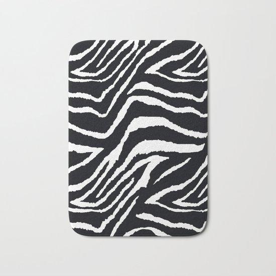 ZEBRA ANIMAL PRINT BLACK AND WHITE PATTERN Bath Mat
