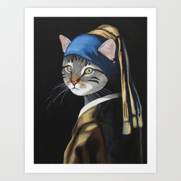Cat with a pearl earring anthropomorphic Art Print