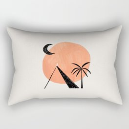 Minimalist Abstract Ink Collage Ancient Egypt Pyramids Tan Circle Desert Landscape by Ejaaz Haniff Rectangular Pillow