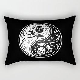 Black and White Yin Yang Roses Rectangular Pillow
