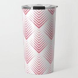 White and pink art-deco geometric pattern Travel Mug
