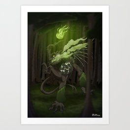 Forest monkey dragon by Theblackthorn86 Art Print