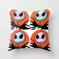 jack skellington Throw Pillows featuring Jack Skellington Pixel Art by Katherine Young Creative