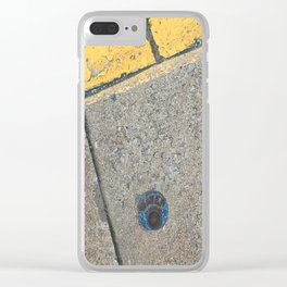Blue Water Yellow Line Clear iPhone Case