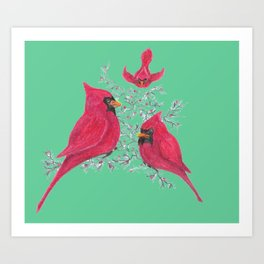 Three Cardinals And Berries Art Print