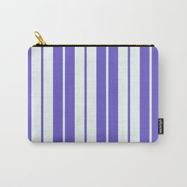 Slate Blue & Mint Cream Colored Lines Pattern Carry-All Pouch