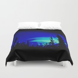 Aurora Borealis Forest Vibrant Duvet Cover