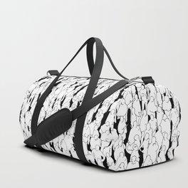 Public assembly B&W / Lineart people pattern Duffle Bag