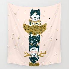 Spirit Animal Totem Pole - Blush Wall Tapestry