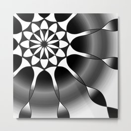 Simple black and grey mandala Metal Print