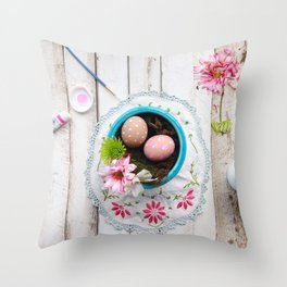 Painted Eggs  Throw Pillow