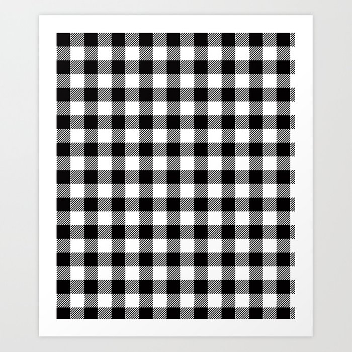 90 S Buffalo Check Plaid In Black And White Art Print By
